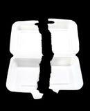 Teared styrofoam foam box on black background Royalty Free Stock Photography