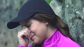 Tearful Girl With Sadness And Depression stock video footage