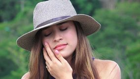 Tearful And Sad Teen Girl. Young pretty Colombian teen female Stock Image