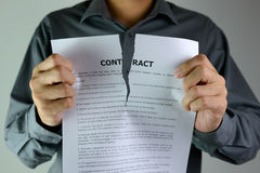 Tearing contract Stock Photos