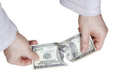 Tearing dollar bill Royalty Free Stock Photography