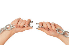Tearing a heavy chain Royalty Free Stock Photos
