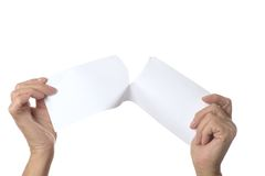 Tearing paper sheet Stock Image