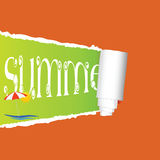 Tearing paper with sign of summer vector Royalty Free Stock Image