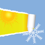 Tearing paper with sun and snowflakes color vector Stock Image