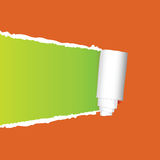 Tearing paper vector on orange Royalty Free Stock Photo
