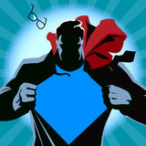 Tearing superman zijn overhemd Vector illustratie Stock Foto