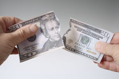 Tearing Twenty Dollar Bill Stock Image