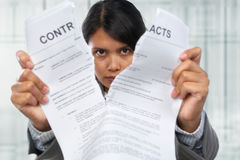 Tearing up the contacts Stock Photo