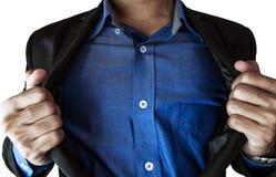 Tearing zakenman zijn kostuum, abstract concept, selectieve die nadruk, op witte achtergrond wordt geïsoleerd Stock Foto's