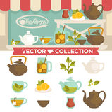 Tearoom Drinks Vector Collection on Showcase. Brown and white pots, plate with lemon slices, cup of tea, glass jar with welding on shelves outdoors and set of Royalty Free Stock Photography