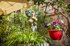 Tearoom in Mdina, Malta. Garden sitting in tearoom in Mdina, Malta - Old Capital and the Silent City of Malta - Medieval Town Royalty Free Stock Photography