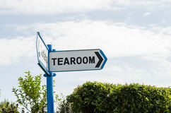 Tearoom this way. A sign pointing the way to the tearoom UK Stock Photo