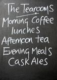 Tearooms chalkboard. Royalty Free Stock Images