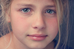 Tears. Close up of the face from a young girl crying Stock Photography