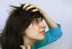 Tears and depression. The young girl is depressed and crying Stock Images