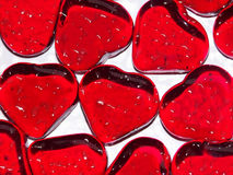 Tears of love. Macro of glass hearts Royalty Free Stock Photo
