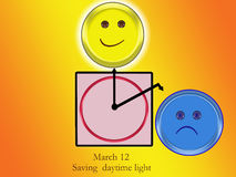 MARCH 12. ON march 12 after midnight clocks are changed  by one hour to save electricity Royalty Free Illustration