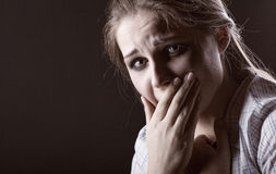 Tears of a young woman Royalty Free Stock Image