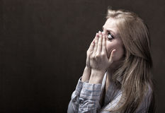 Tears of a young woman Stock Image