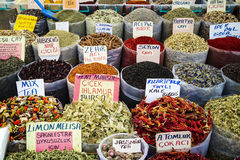 Teas and spices at an Eastern market stall. Royalty Free Stock Image