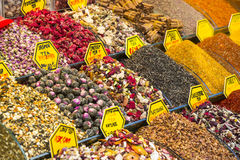 Teas and spices in the market Royalty Free Stock Photography