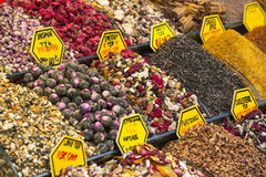 Teas and spices in the market Royalty Free Stock Photo