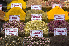 Teas and spices in the market Royalty Free Stock Photos