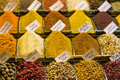 Teas and spices in the market Stock Image