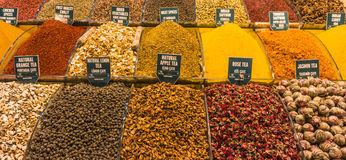 Teas and spices for sale Royalty Free Stock Image