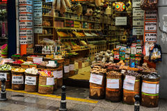 Teas and spices street shop in Istanbul Stock Images
