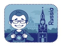 Teaser with photographer travels through Russia Royalty Free Stock Photos
