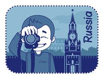 Teaser with photographer travels through Russia Royalty Free Stock Image