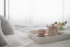 Teaset On Breakfast Tray In Bedroom Royalty Free Stock Photography