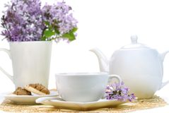 Teaset and flowers Stock Photo