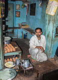 Teashop in Varanasi. A chai shop in the small streets of the old city of Varanasi Stock Photo
