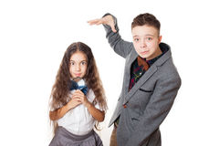 Teasing friends boy and girl, brother and sister Royalty Free Stock Photos