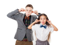 Teasing friends boy and girl, brother and sister Royalty Free Stock Image