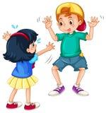 Teasing. Silly boy teasing a little girl Stock Photo