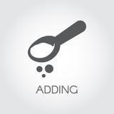 Teaspoon lub tablespoon z abstrakcjonistycznym składnikiem Sumujący produkt dla przygotowywać jedzenie Graficzny wizerunek Ikona  ilustracja wektor