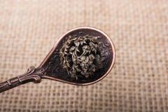 Teaspoon made of metal in hand. Teaspoon made of metal in the hand Stock Photos
