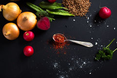 Teaspoon red spice Stock Photography