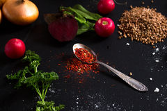 Teaspoon red spice Royalty Free Stock Images