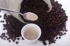 Teaspoon of yogurt coffee Stock Images
