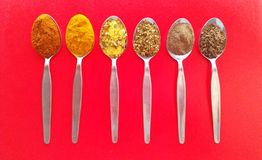 Teaspoons and spices Royalty Free Stock Photography