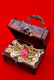 Teasure chest with a golden keys. Treasure chest with a plexiglas skeleton keys and red dollar sign inside isolated on red background royalty free stock photos