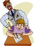 Teatcher Professor. Color cartoon artwork line-art stock illustration