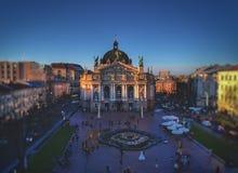 Teater av operan i Lviv royaltyfria bilder