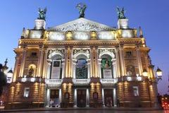 Teater av operan och balett Lviv Arkivbilder