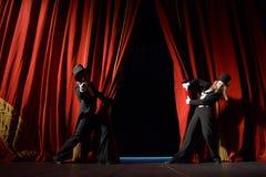 teater för etapp för show för begreppsgardinpresentation röd Arkivbilder